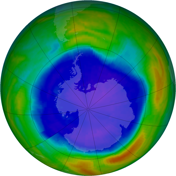 Antarctic ozone map for 10 September 2001