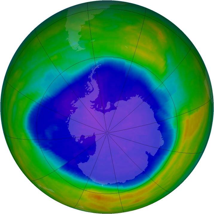 Antarctic ozone map for 13 September 2001