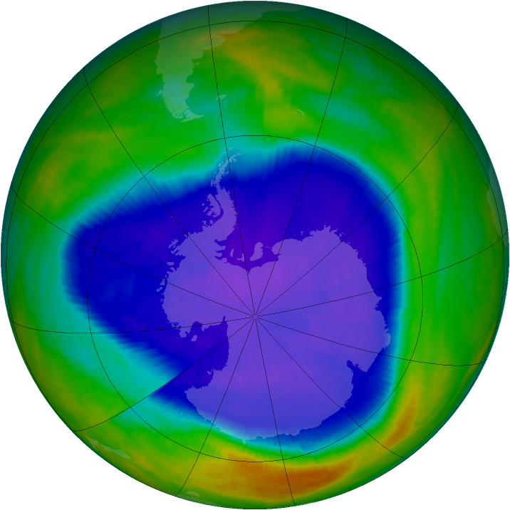 Antarctic ozone map for 15 September 2001