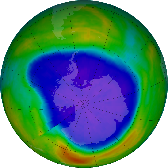 Antarctic ozone map for 16 September 2001
