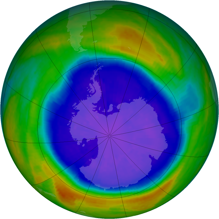 Antarctic ozone map for 17 September 2001