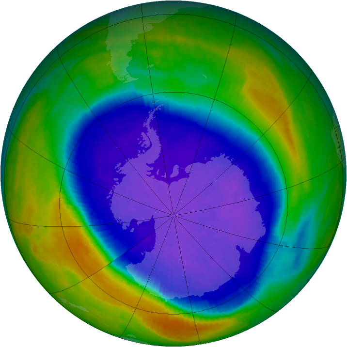 Antarctic ozone map for 19 September 2001