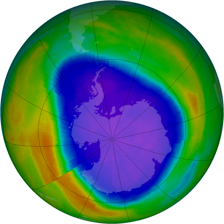 Antarctic ozone map for 20 September 2001