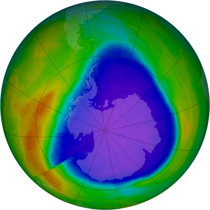 Antarctic ozone map for 22 September 2001