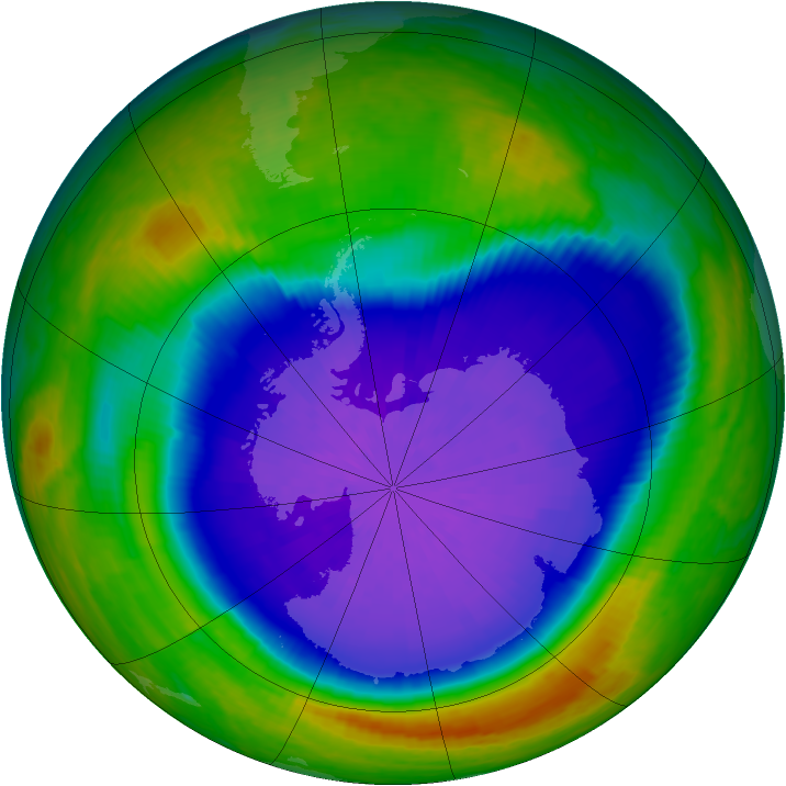 Antarctic ozone map for 26 September 2001