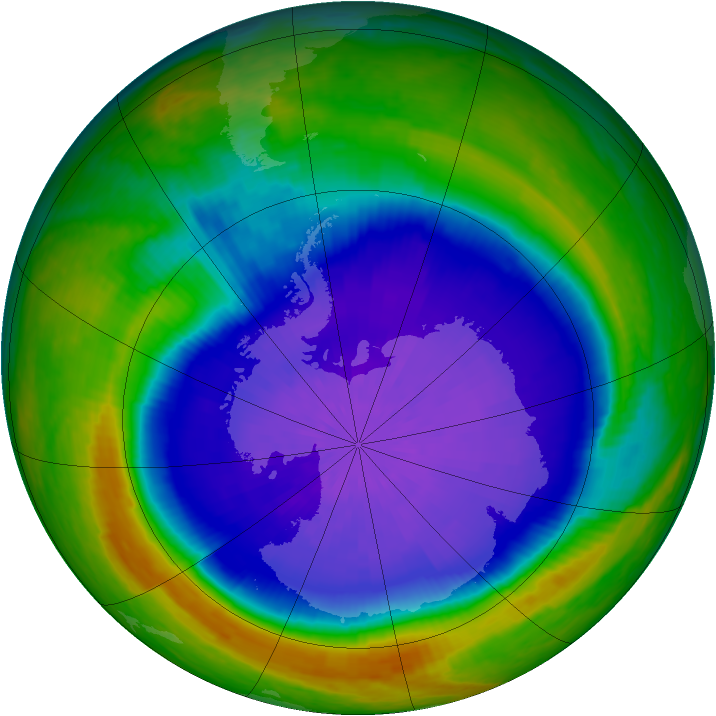 Antarctic ozone map for 28 September 2001