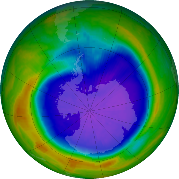Antarctic ozone map for 29 September 2001