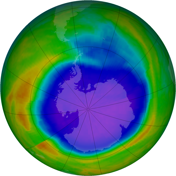Antarctic ozone map for 30 September 2001