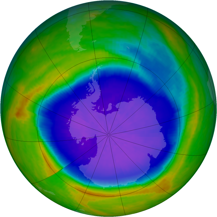 Antarctic ozone map for 01 October 2001