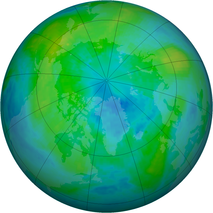 Arctic ozone map for 02 October 2001
