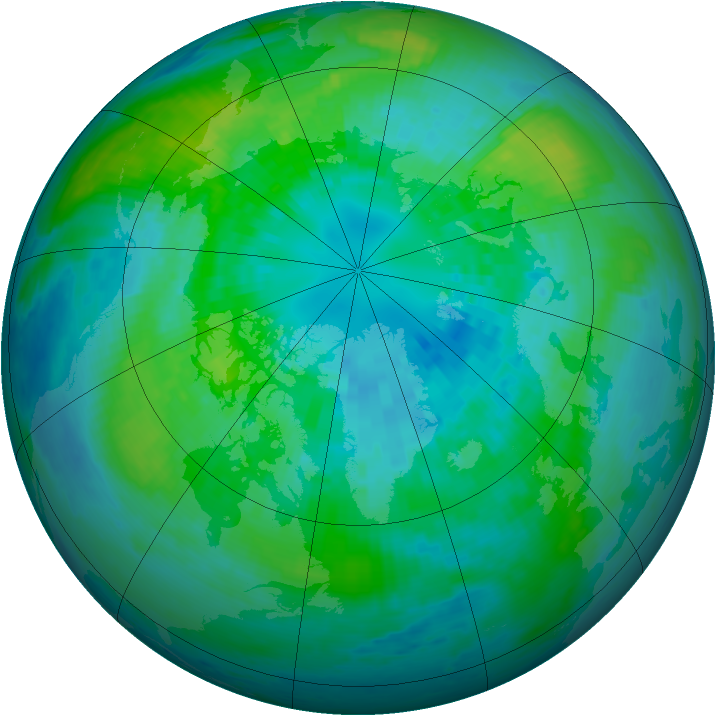 Arctic ozone map for 03 October 2001