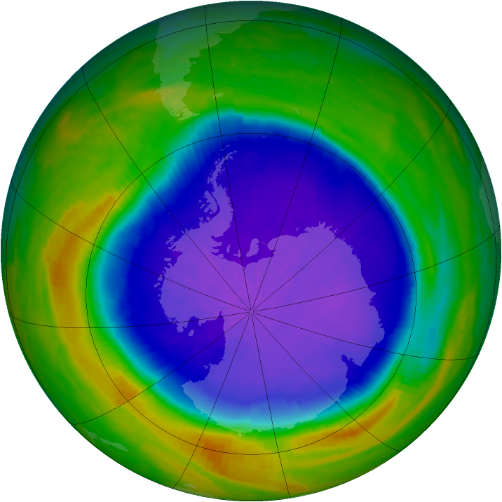 Antarctic ozone map for 03 October 2001