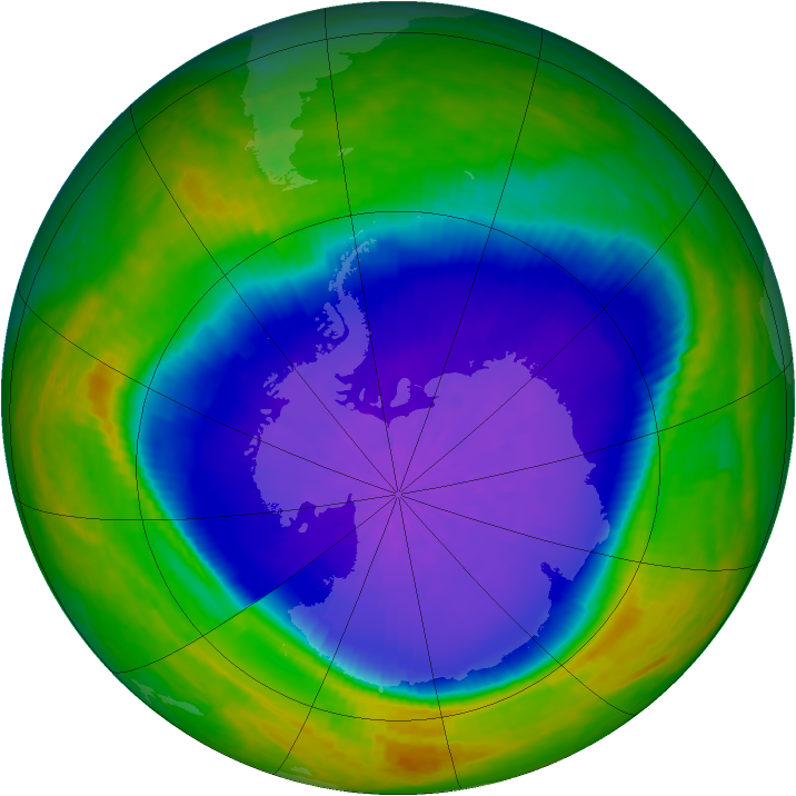 Antarctic ozone map for 05 October 2001