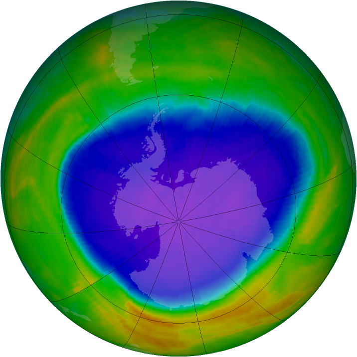 Antarctic ozone map for 06 October 2001