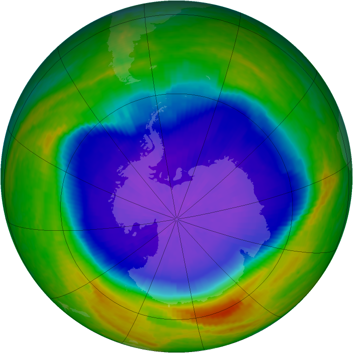 Antarctic ozone map for 07 October 2001