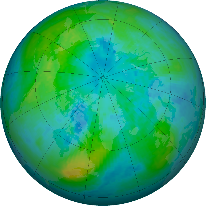 Arctic ozone map for 08 October 2001