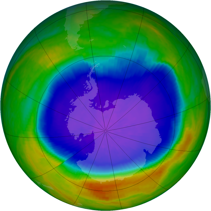 Antarctic ozone map for 08 October 2001