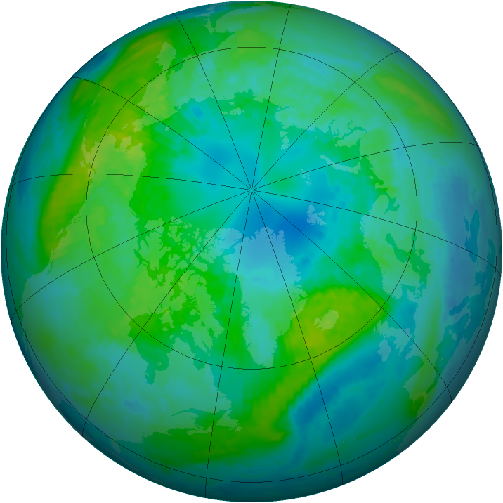 Arctic ozone map for 10 October 2001