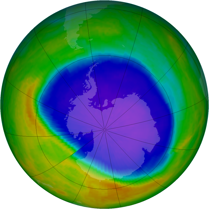 Antarctic ozone map for 13 October 2001