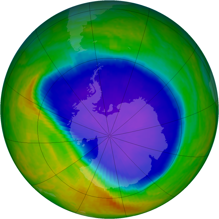 Antarctic ozone map for 14 October 2001