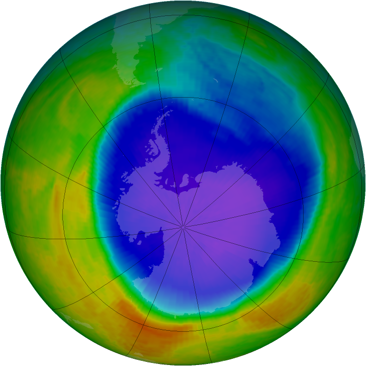 Antarctic ozone map for 18 October 2001
