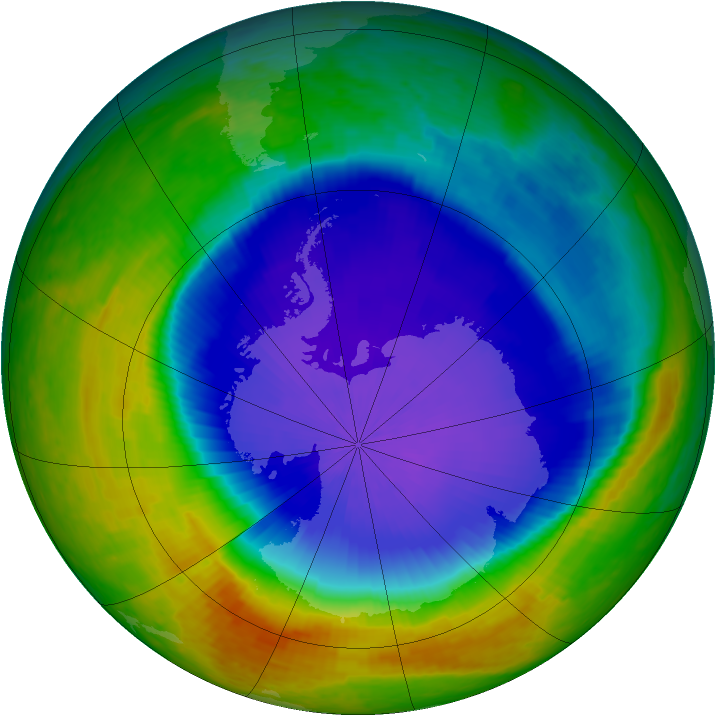 Antarctic ozone map for 19 October 2001