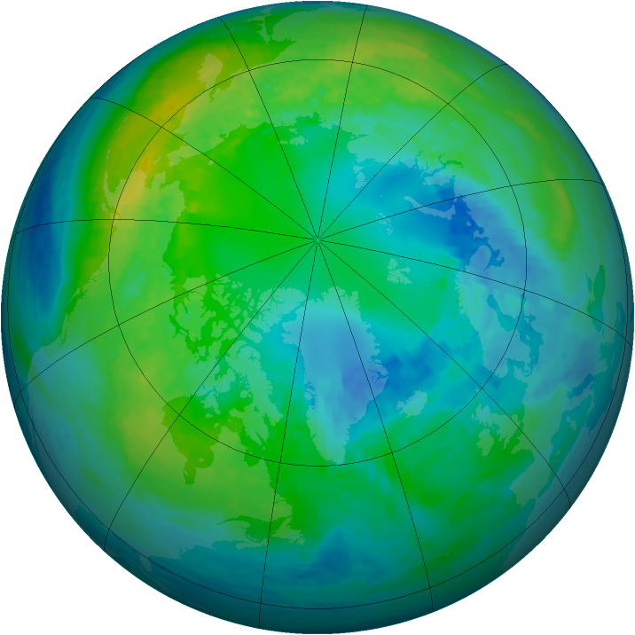 Arctic ozone map for 21 October 2001