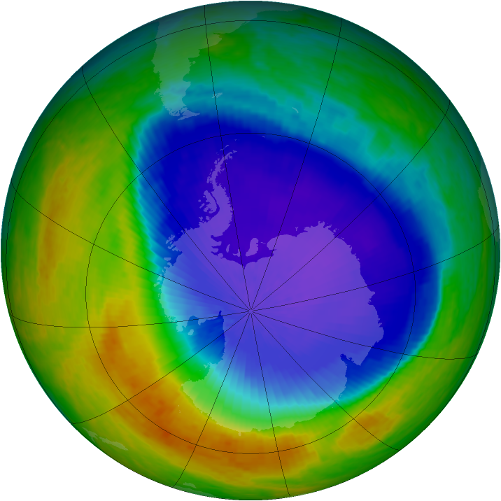 Antarctic ozone map for 21 October 2001