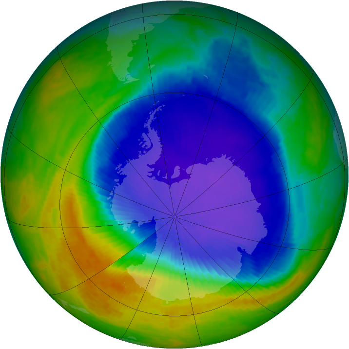 Antarctic ozone map for 23 October 2001