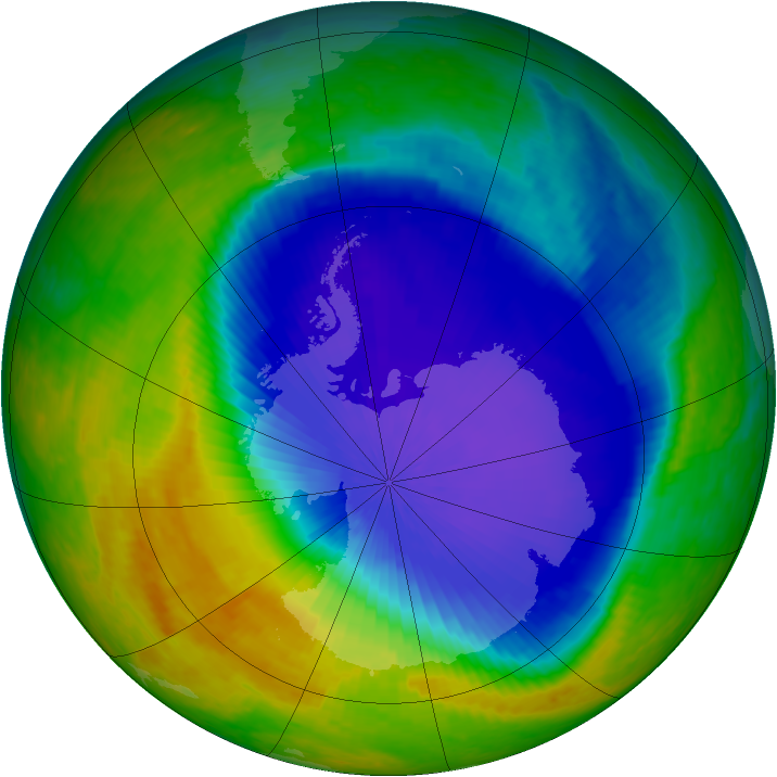 Antarctic ozone map for 24 October 2001