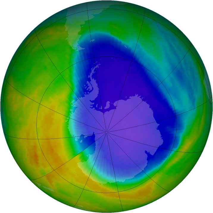 Antarctic ozone map for 25 October 2001