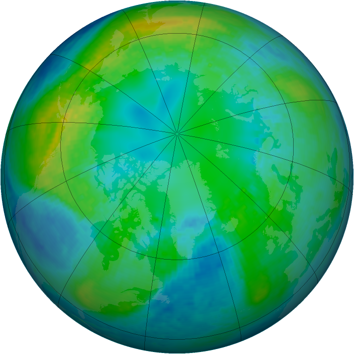 Arctic ozone map for 27 October 2001