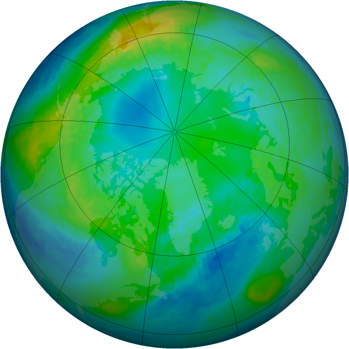 Arctic ozone map for 28 October 2001