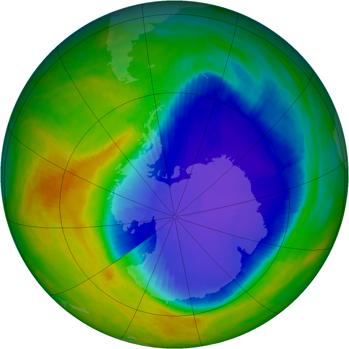 Antarctic ozone map for 28 October 2001