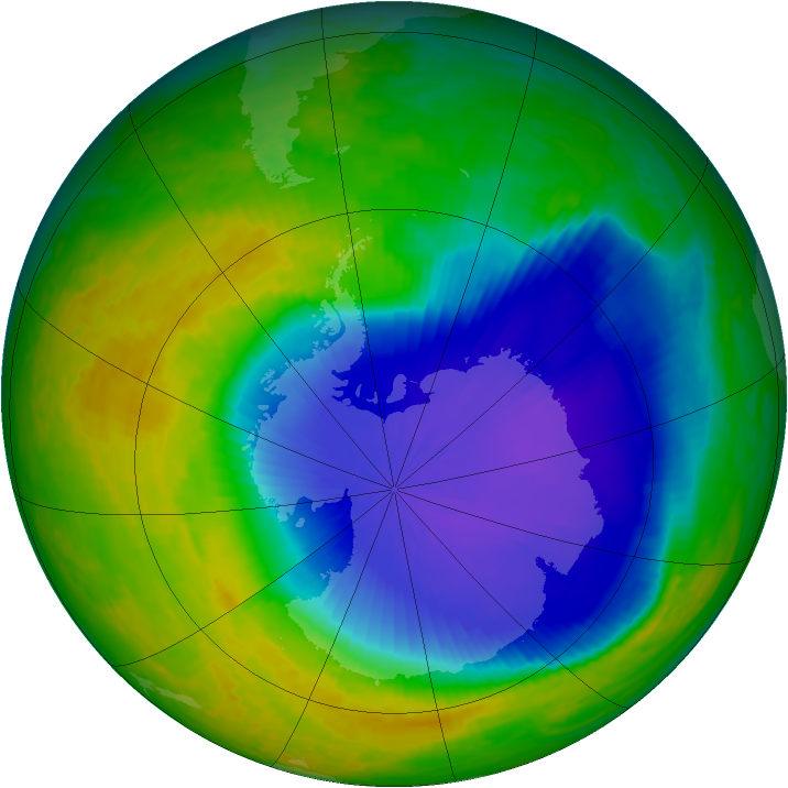 Antarctic ozone map for 30 October 2001