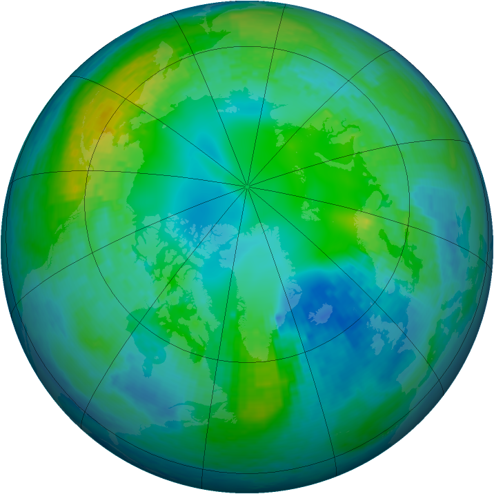 Arctic ozone map for 01 November 2001