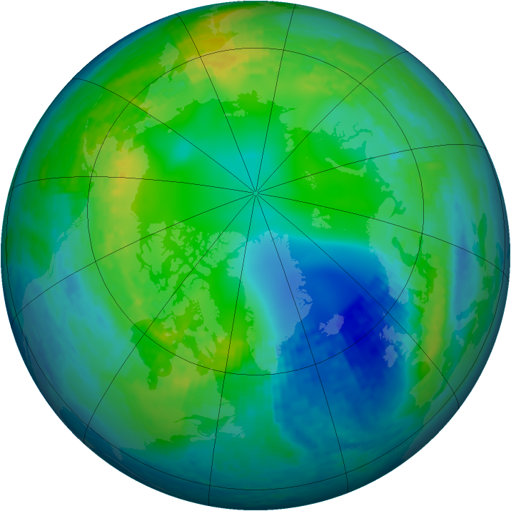 Arctic ozone map for 09 November 2001