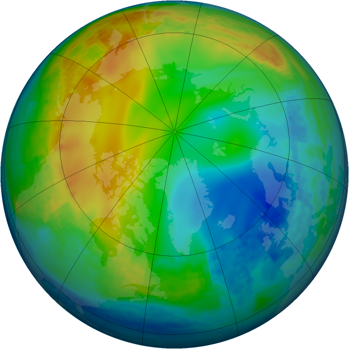 Arctic ozone map for 09 December 2001