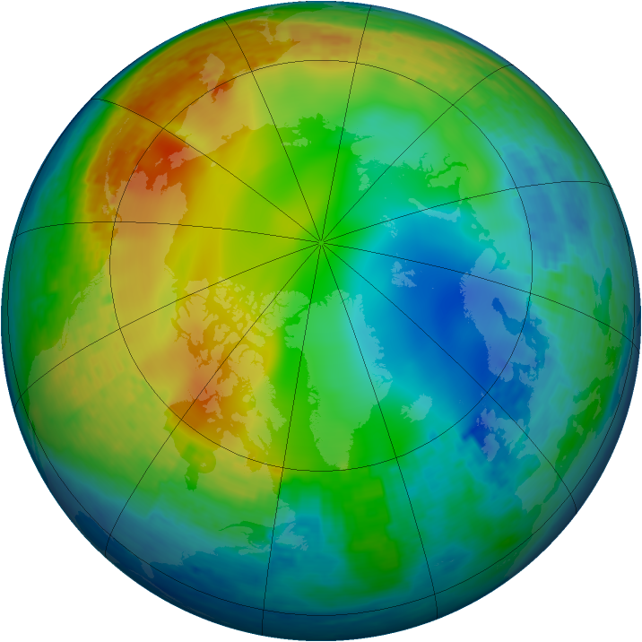 Arctic ozone map for 11 December 2001