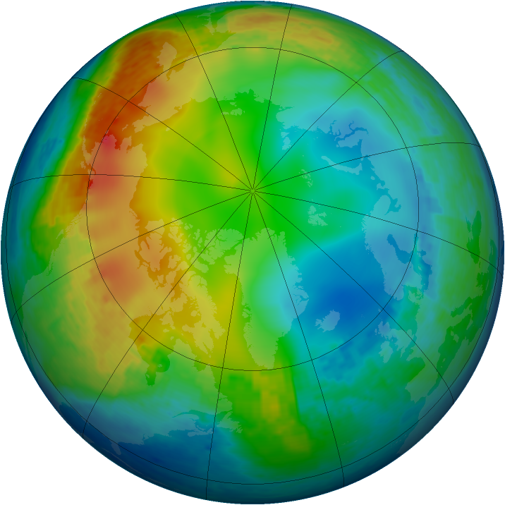 Arctic ozone map for 13 December 2001