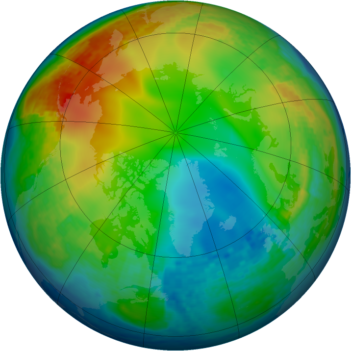 Arctic ozone map for 22 December 2001