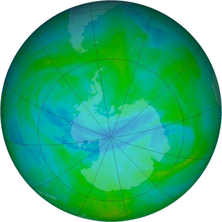 Antarctic ozone map for 23 December 2001