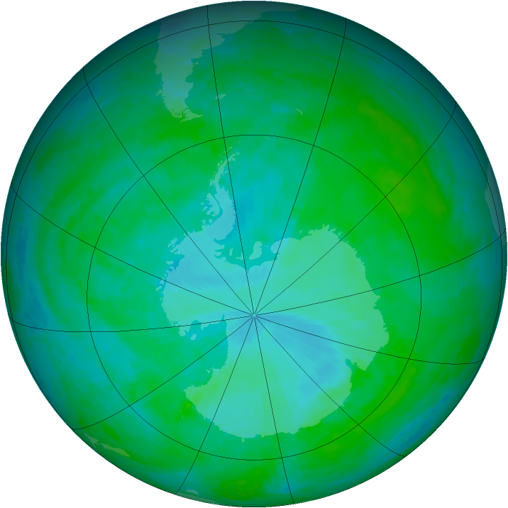 Antarctic ozone map for 29 December 2001
