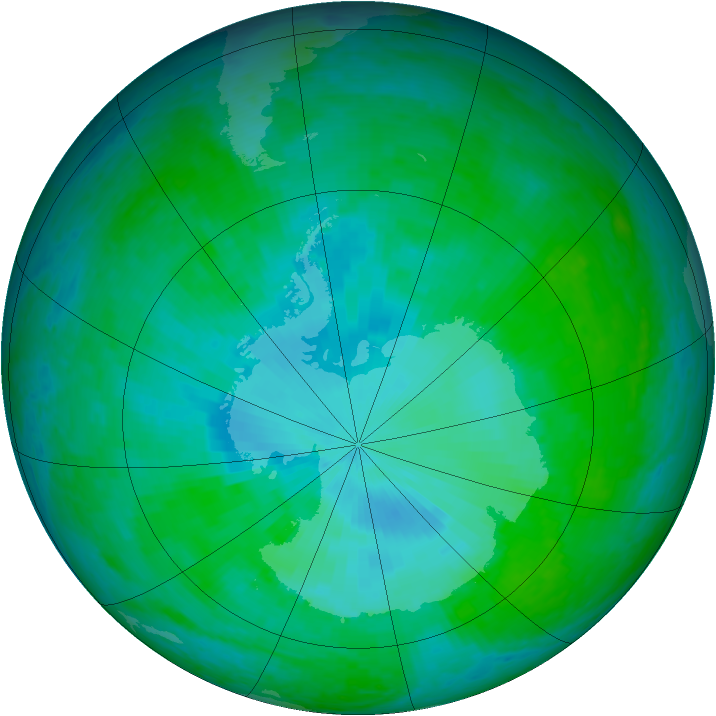 Antarctic ozone map for 31 December 2001