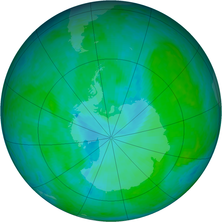 Antarctic ozone map for 03 January 2002