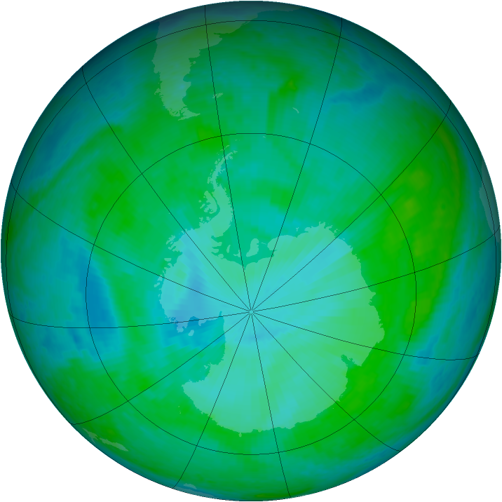 Antarctic ozone map for 05 January 2002
