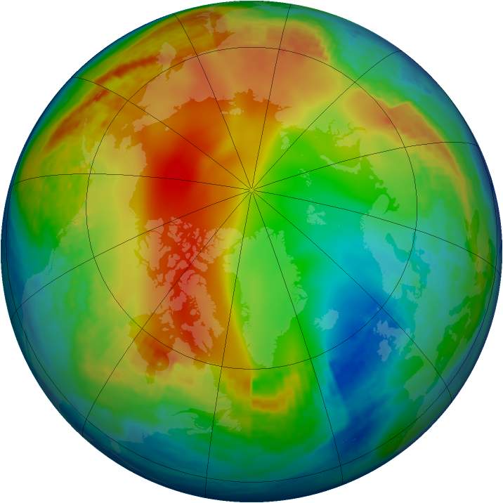 Arctic ozone map for 06 January 2002