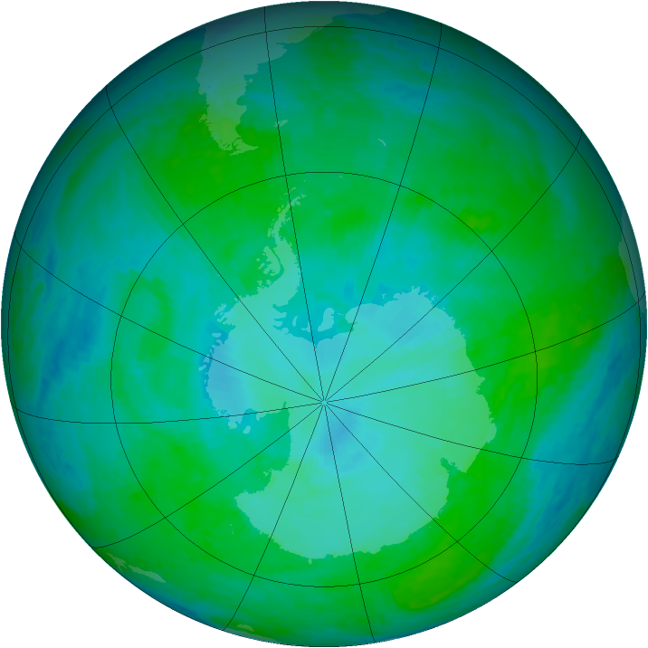 Antarctic ozone map for 07 January 2002