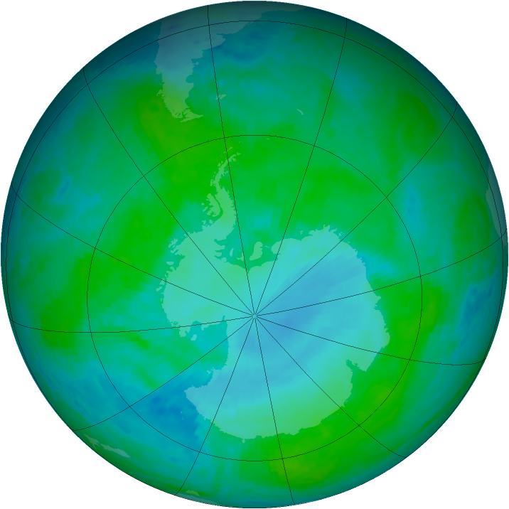 Antarctic ozone map for 12 January 2002