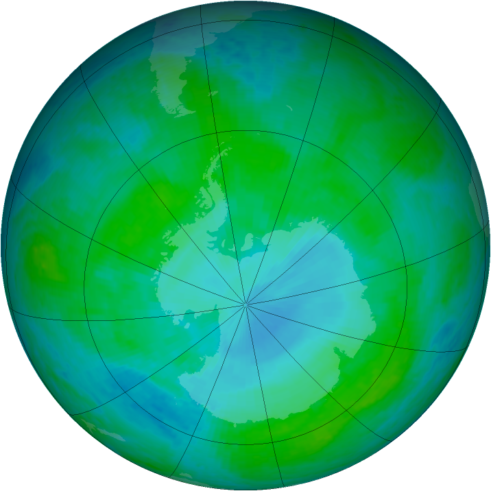 Antarctic ozone map for 13 January 2002